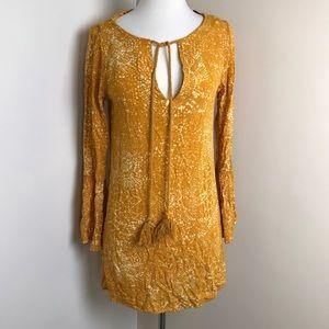 H&M mustard boho festival front tassel Midi dress